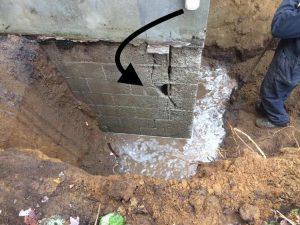 Infiltration d'eau fondation